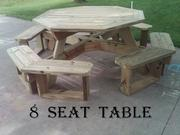 8 seat,  6 seat,  4 seat treated wood picnic tables